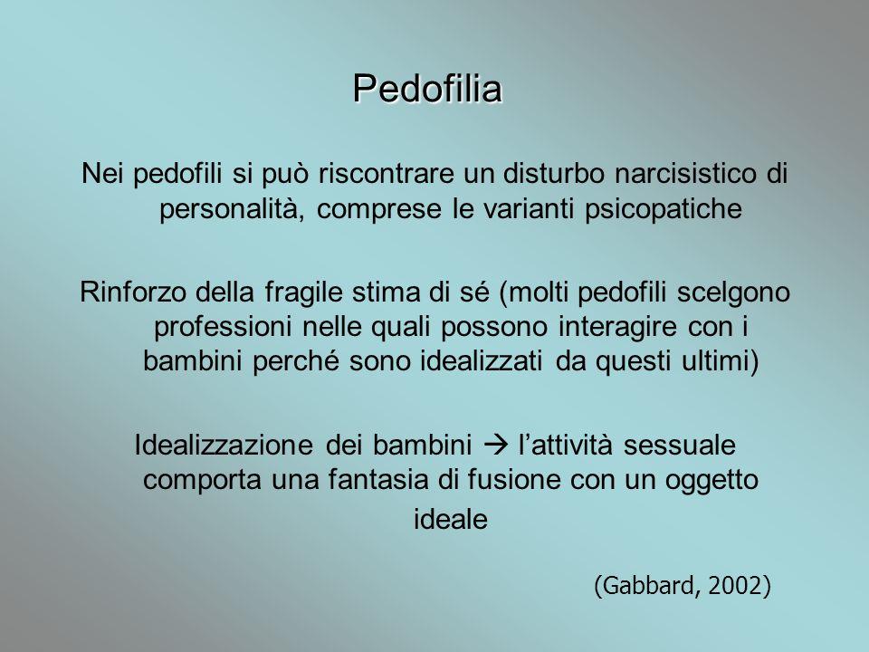Pedofilia Nei pedofili si può riscontrare un disturbo narcisistico di personalità, comprese le varianti psicopatiche Rinforzo della fragile stima di s
