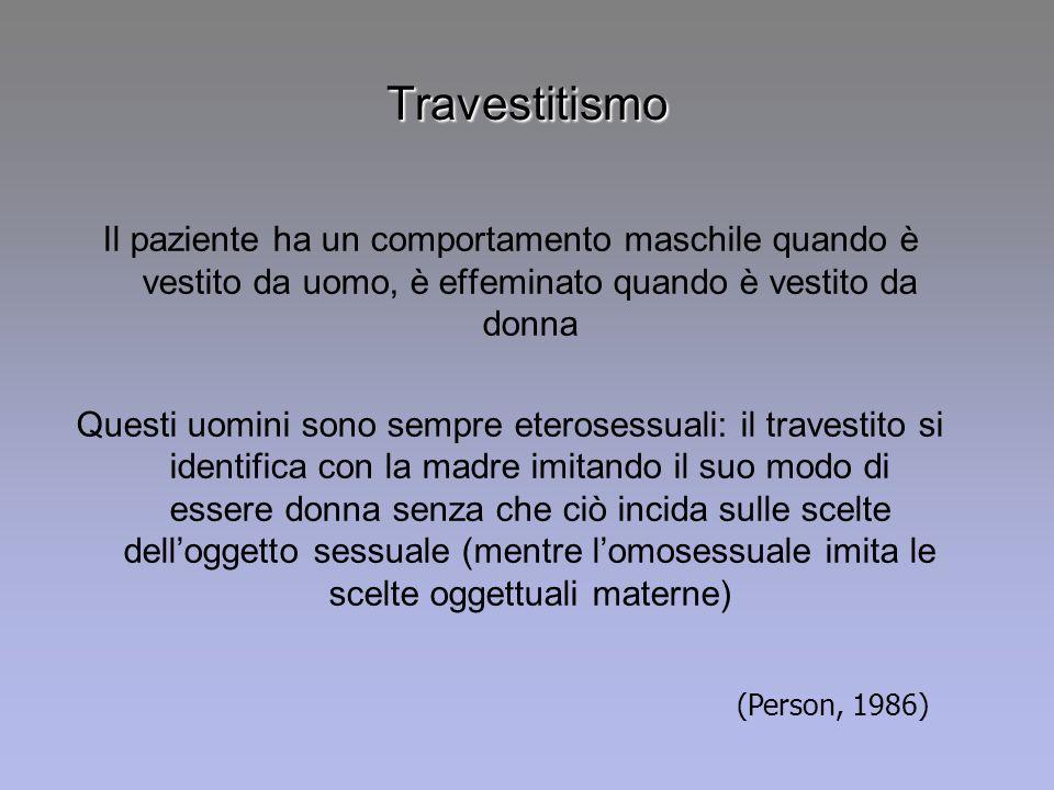 Travestitismo Il paziente ha un comportamento maschile quando è vestito da uomo, è effeminato quando è vestito da donna Questi uomini sono sempre eter