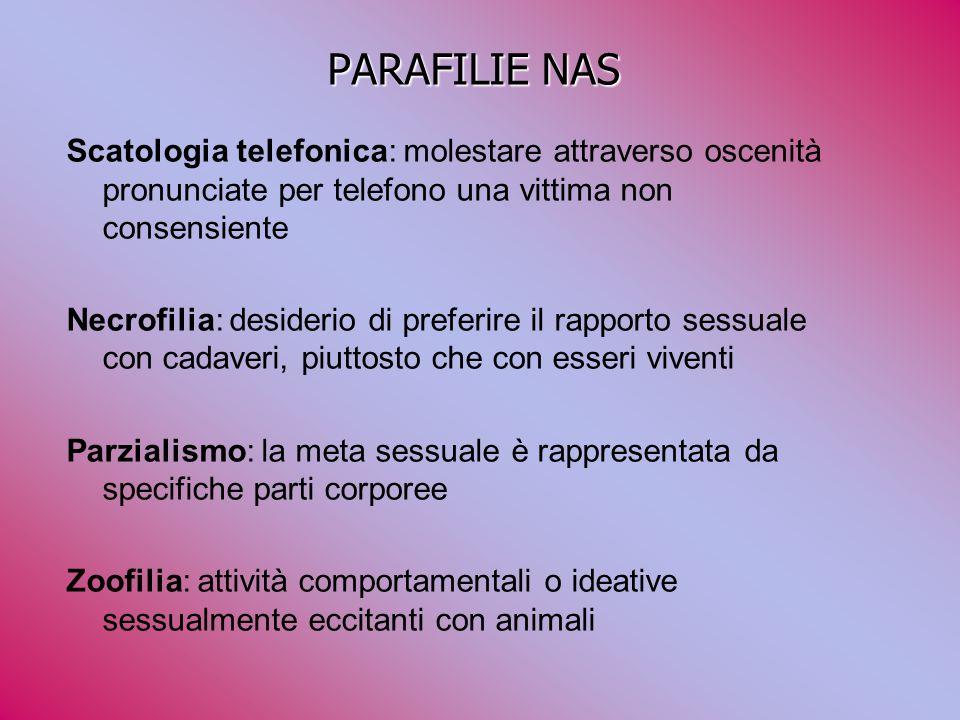 PARAFILIE NAS Scatologia telefonica: molestare attraverso oscenità pronunciate per telefono una vittima non consensiente Necrofilia: desiderio di pref