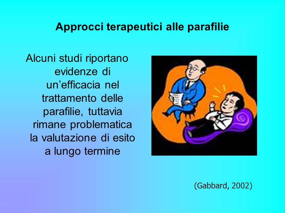 Approcci terapeutici alle parafilie Alcuni studi riportano evidenze di unefficacia nel trattamento delle parafilie, tuttavia rimane problematica la va