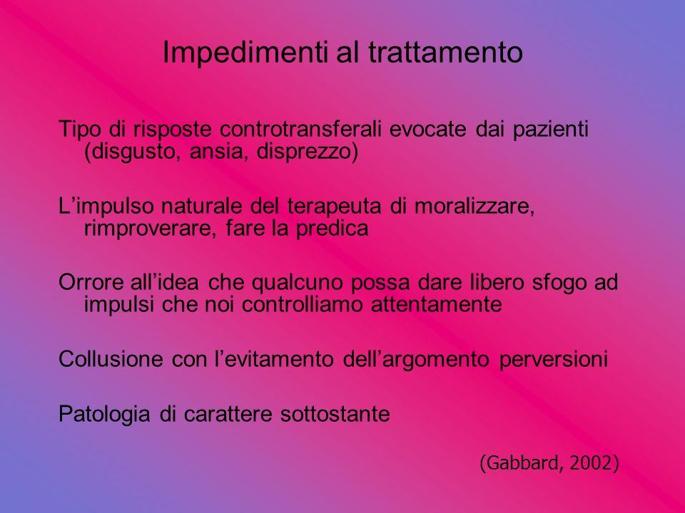 Impedimenti al trattamento Tipo di risposte controtransferali evocate dai pazienti (disgusto, ansia, disprezzo) Limpulso naturale del terapeuta di mor