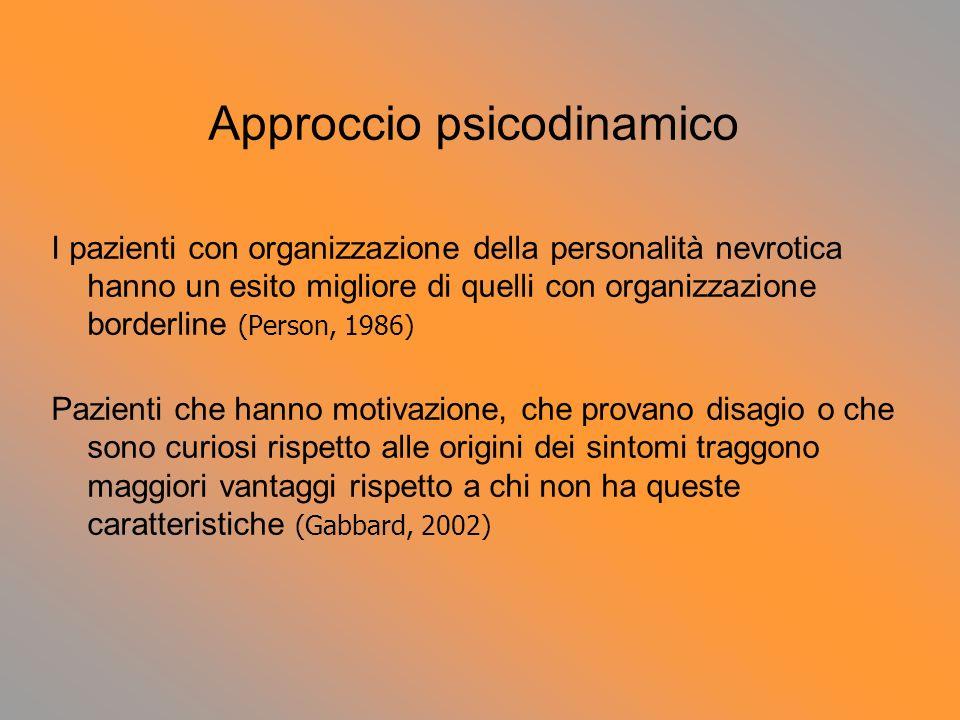Approccio psicodinamico I pazienti con organizzazione della personalità nevrotica hanno un esito migliore di quelli con organizzazione borderline (Per
