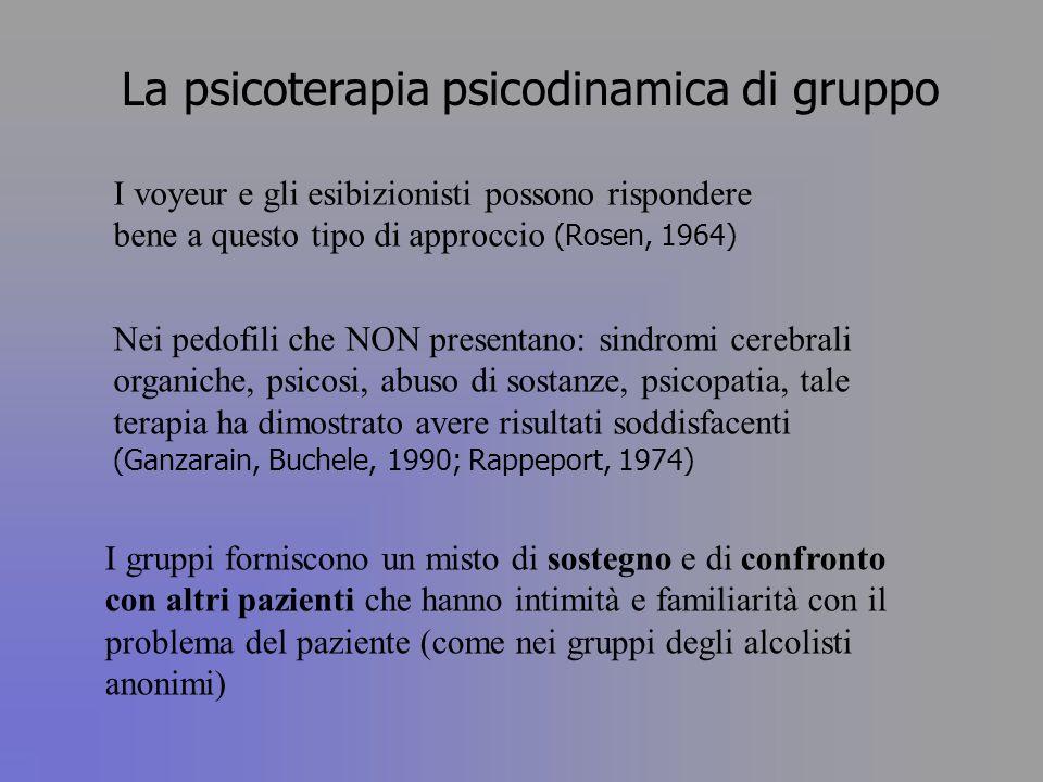 La psicoterapia psicodinamica di gruppo I voyeur e gli esibizionisti possono rispondere bene a questo tipo di approccio (Rosen, 1964) Nei pedofili che