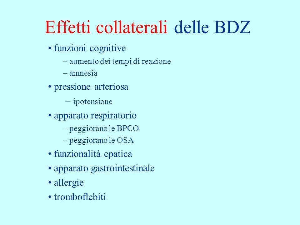 Effetti collaterali delle BDZ funzioni cognitive – aumento dei tempi di reazione – amnesia pressione arteriosa – ipotensione apparato respiratorio – p