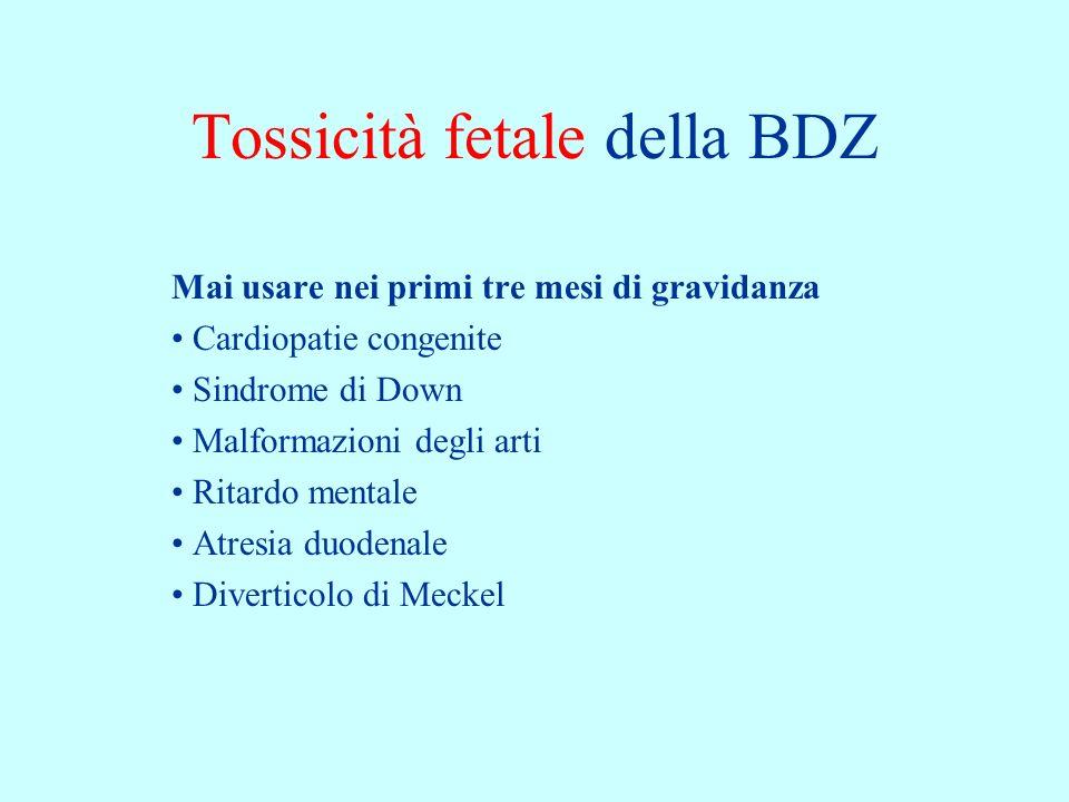 Tossicità fetale della BDZ Mai usare nei primi tre mesi di gravidanza Cardiopatie congenite Sindrome di Down Malformazioni degli arti Ritardo mentale