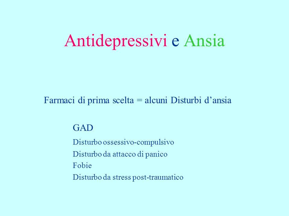 Antidepressivi e Ansia Farmaci di prima scelta = alcuni Disturbi dansia GAD Disturbo ossessivo-compulsivo Disturbo da attacco di panico Fobie Disturbo