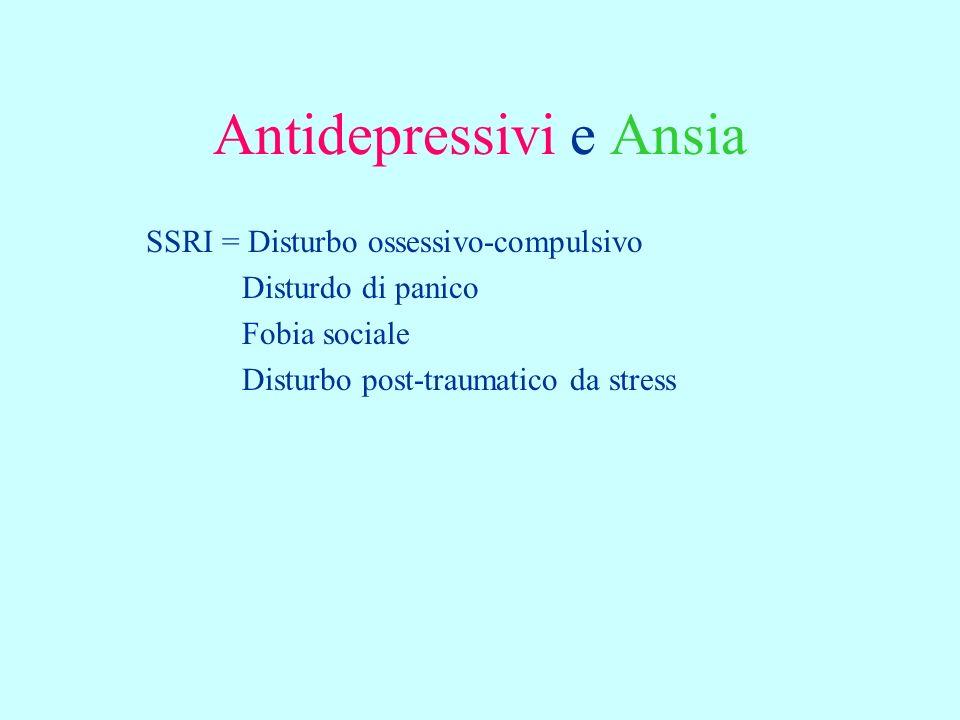 Antidepressivi e Ansia SSRI = Disturbo ossessivo-compulsivo Disturdo di panico Fobia sociale Disturbo post-traumatico da stress