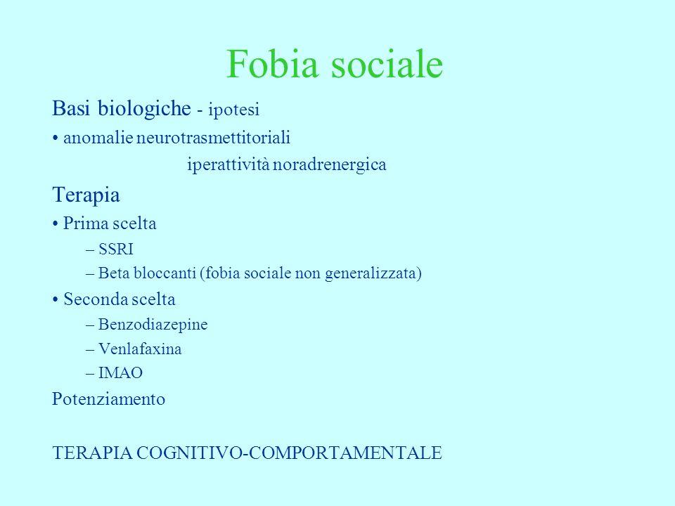 Fobia sociale Basi biologiche - ipotesi anomalie neurotrasmettitoriali iperattività noradrenergica Terapia Prima scelta – SSRI – Beta bloccanti (fobia