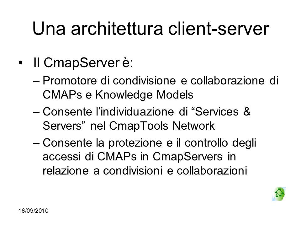 16/09/2010 Una architettura client-server Il CmapServer è: –Promotore di condivisione e collaborazione di CMAPs e Knowledge Models –Consente lindividu