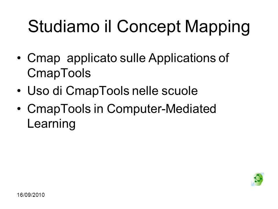 16/09/2010 Studiamo il Concept Mapping Cmap applicato sulle Applications of CmapTools Uso di CmapTools nelle scuole CmapTools in Computer-Mediated Lea