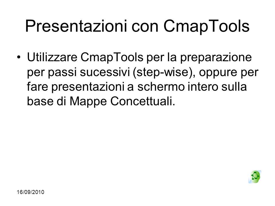 16/09/2010 Presentazioni con CmapTools Utilizzare CmapTools per la preparazione per passi sucessivi (step-wise), oppure per fare presentazioni a scher