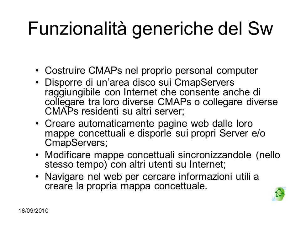16/09/2010 Funzionalità generiche del Sw Costruire CMAPs nel proprio personal computer Disporre di unarea disco sui CmapServers raggiungibile con Inte
