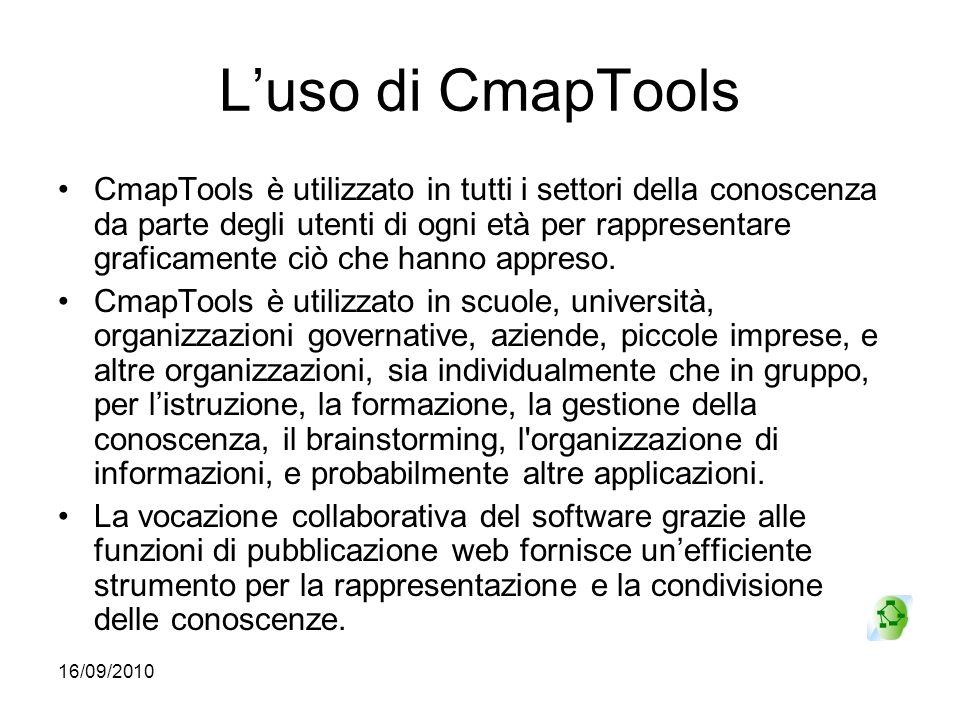 16/09/2010 Luso di CmapTools CmapTools è utilizzato in tutti i settori della conoscenza da parte degli utenti di ogni età per rappresentare graficamen