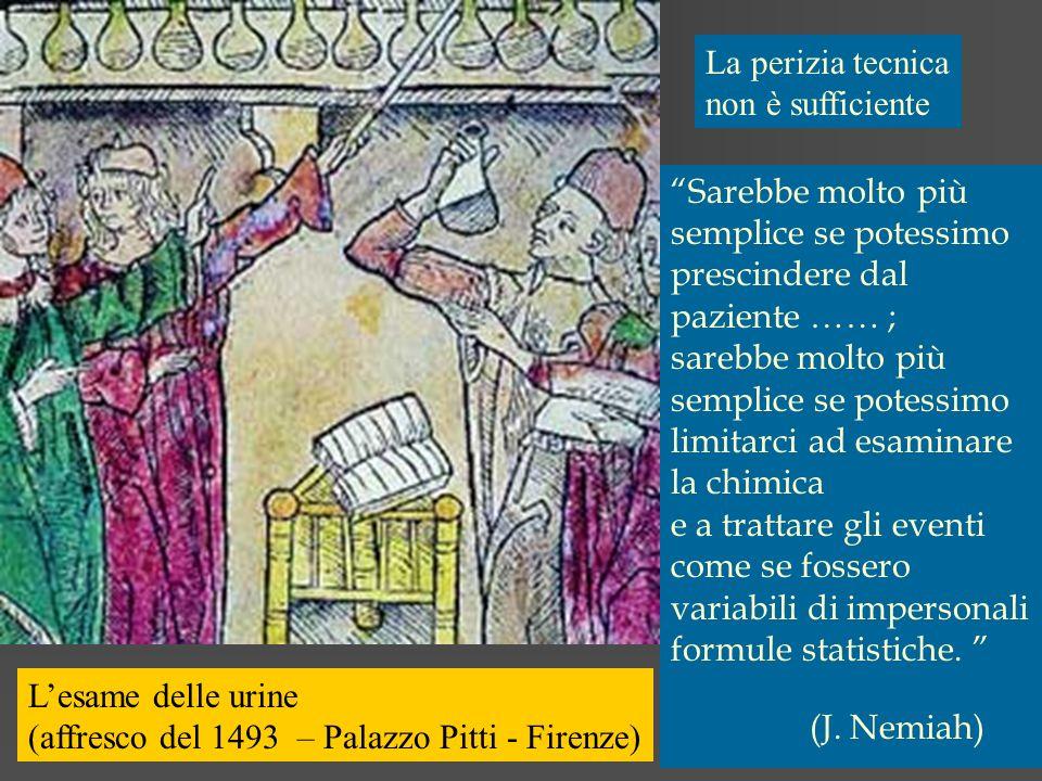 Lesame delle urine (affresco del 1493 – Palazzo Pitti - Firenze) Sarebbe molto più semplice se potessimo prescindere dal paziente …… ; sarebbe molto p