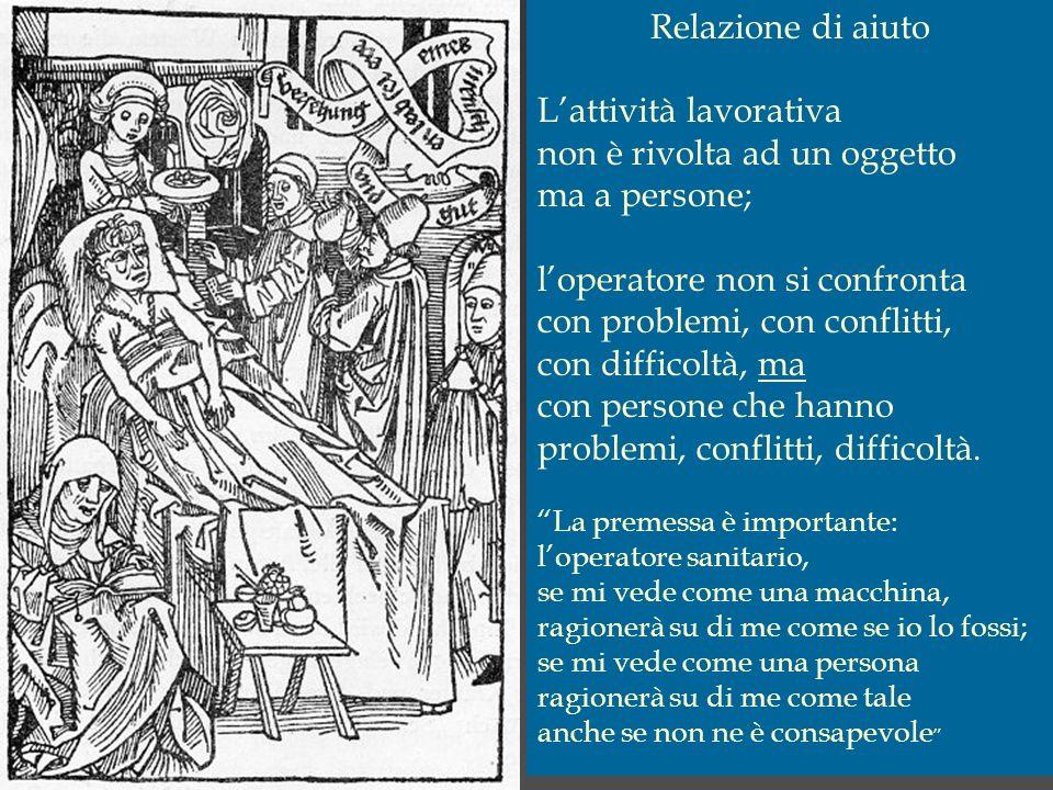 Relazione di aiuto Lattività lavorativa non è rivolta ad un oggetto ma a persone; loperatore non si confronta con problemi, con conflitti, con diffico