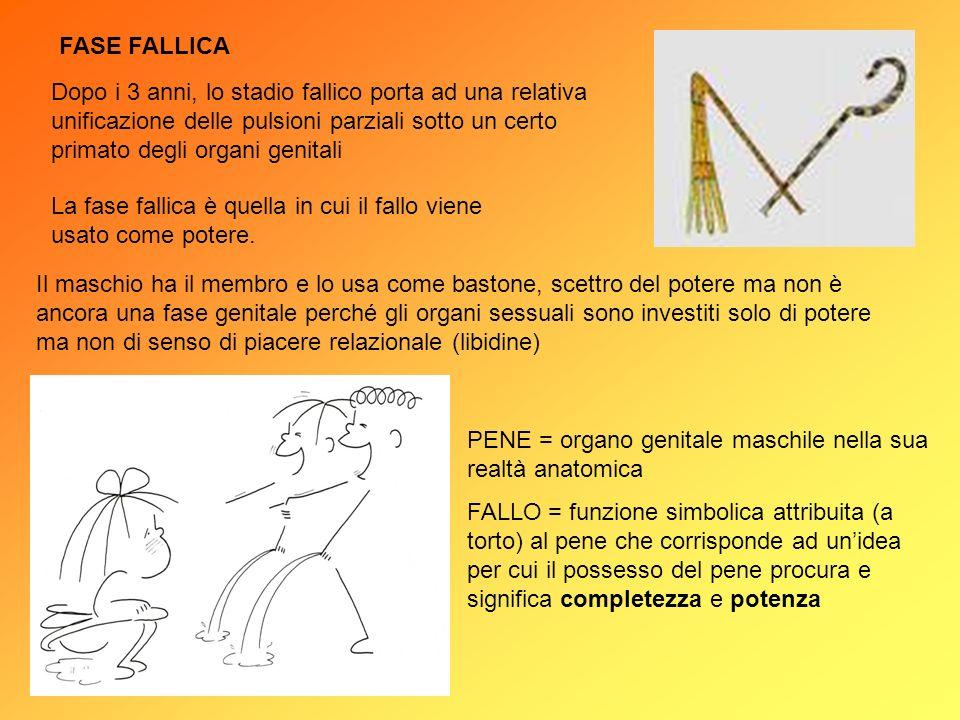 FASE FALLICA La fase fallica è quella in cui il fallo viene usato come potere. Il maschio ha il membro e lo usa come bastone, scettro del potere ma no