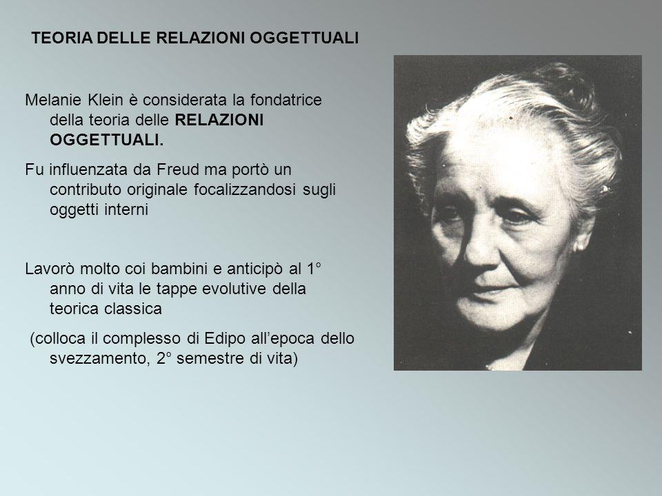 Melanie Klein è considerata la fondatrice della teoria delle RELAZIONI OGGETTUALI. Fu influenzata da Freud ma portò un contributo originale focalizzan