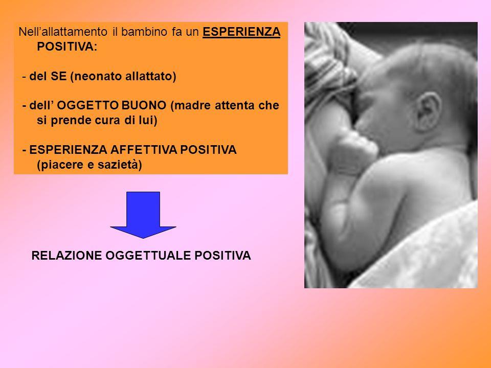 Nellallattamento il bambino fa un ESPERIENZA POSITIVA: - del SE (neonato allattato) - dell OGGETTO BUONO (madre attenta che si prende cura di lui) - E