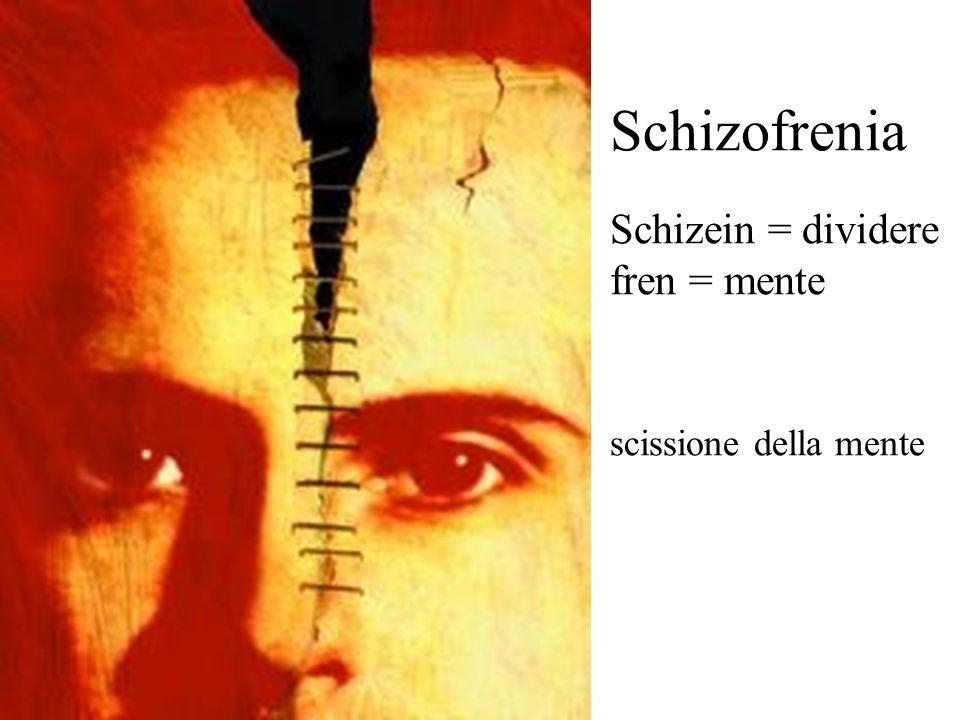 Schizofrenia Schizein = dividere fren = mente scissione della mente