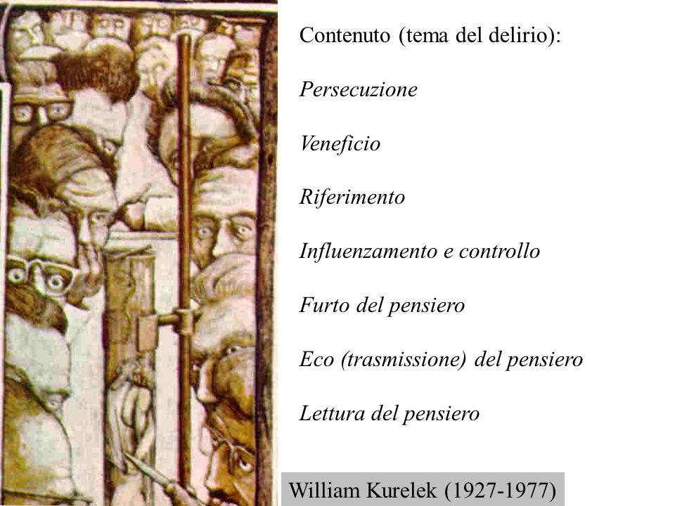 Contenuto (tema del delirio): Persecuzione Veneficio Riferimento Influenzamento e controllo Furto del pensiero Eco (trasmissione) del pensiero Lettura