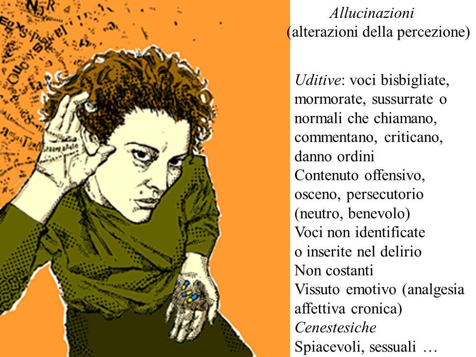 Uditive: voci bisbigliate, mormorate, sussurrate o normali che chiamano, commentano, criticano, danno ordini Contenuto offensivo, osceno, persecutorio