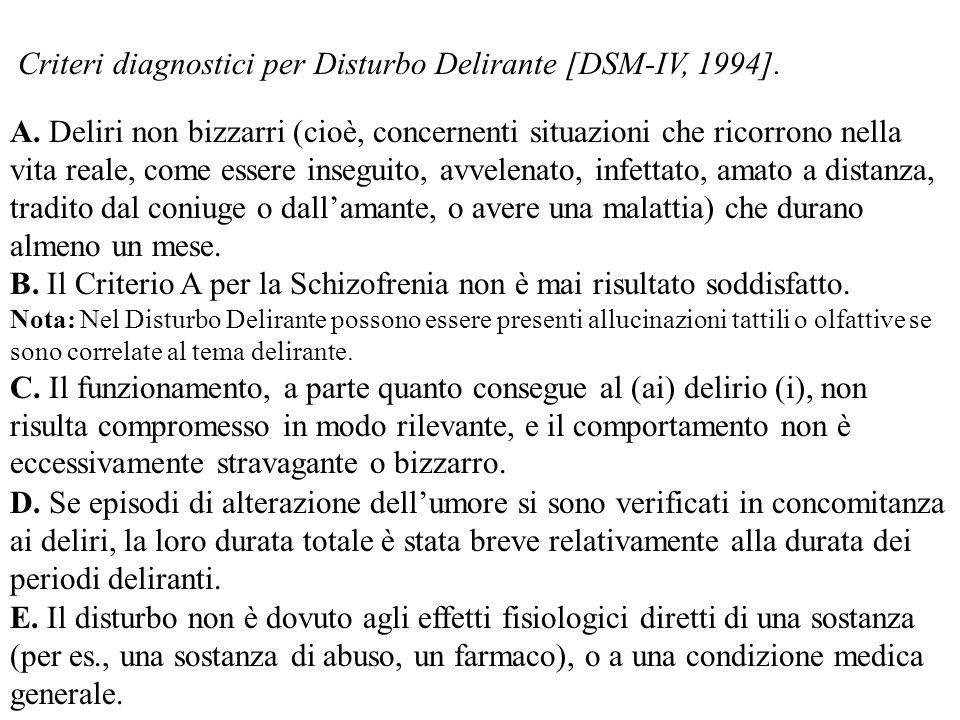 Criteri diagnostici per Disturbo Delirante [DSM-IV, 1994]. A. Deliri non bizzarri (cioè, concernenti situazioni che ricorrono nella vita reale, come e
