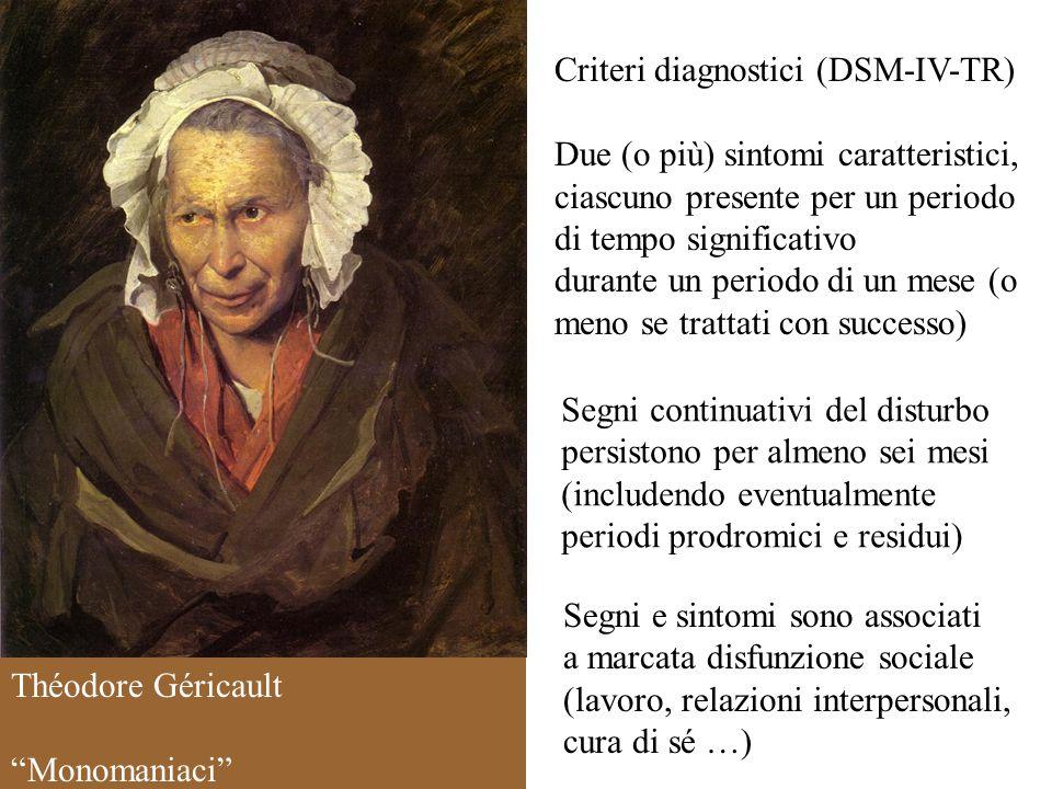 Criteri diagnostici (DSM-IV-TR) Due (o più) sintomi caratteristici, ciascuno presente per un periodo di tempo significativo durante un periodo di un m