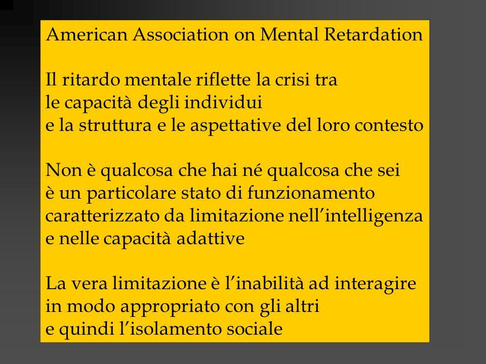 American Association on Mental Retardation Il ritardo mentale riflette la crisi tra le capacità degli individui e la struttura e le aspettative del lo