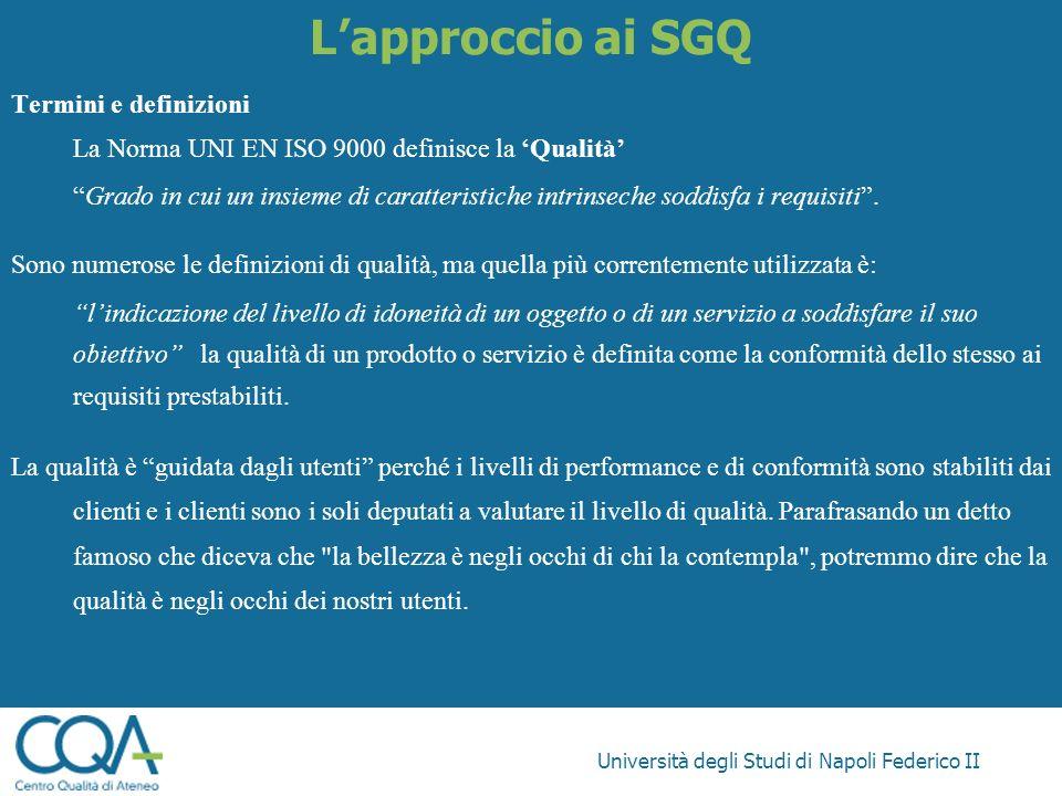Università degli Studi di Napoli Federico II Lapproccio ai SGQ Termini e definizioni La Norma UNI EN ISO 9000 definisce la Qualità Grado in cui un ins