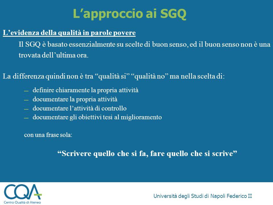 Università degli Studi di Napoli Federico II Lapproccio ai SGQ Levidenza della qualità in parole povere Il SGQ è basato essenzialmente su scelte di bu