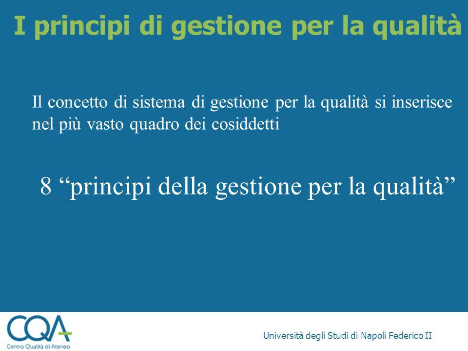 Università degli Studi di Napoli Federico II Il concetto di sistema di gestione per la qualità si inserisce nel più vasto quadro dei cosiddetti 8 prin