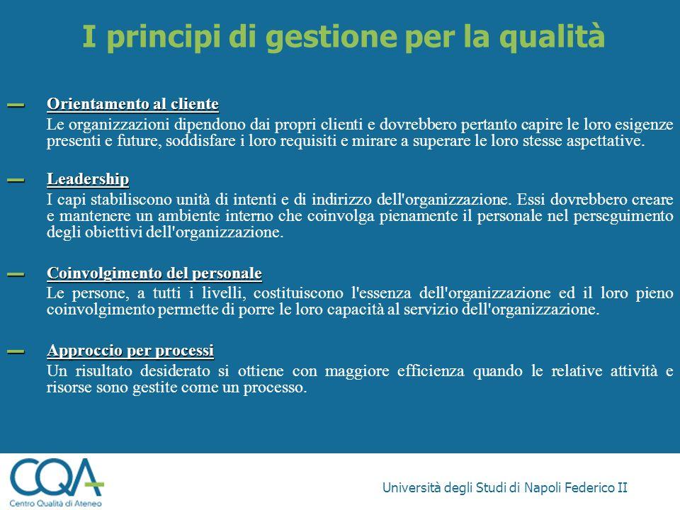 Università degli Studi di Napoli Federico II Orientamento al cliente Orientamento al cliente Le organizzazioni dipendono dai propri clienti e dovrebbe