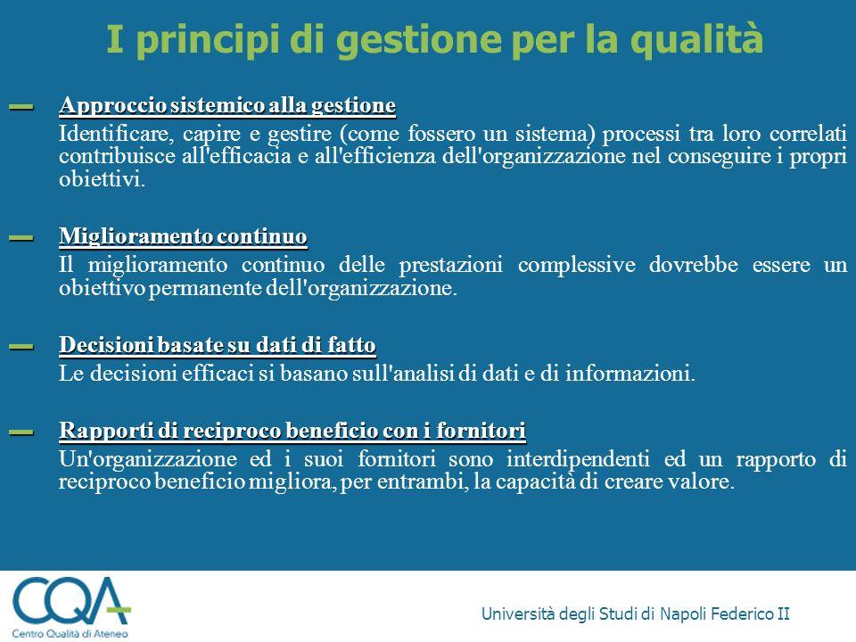 Università degli Studi di Napoli Federico II Approccio sistemico alla gestione Approccio sistemico alla gestione Identificare, capire e gestire (come