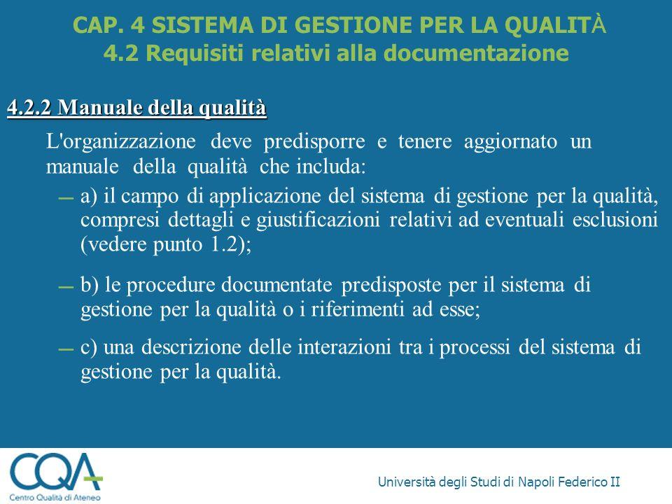 Università degli Studi di Napoli Federico II 4.2.2 Manuale della qualità L'organizzazione deve predisporre e tenere aggiornato un manuale della qualit