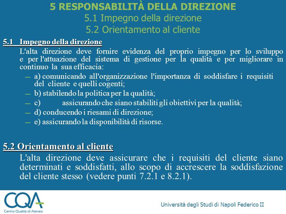 Università degli Studi di Napoli Federico II 5.1Impegno della direzione L'alta direzione deve fornire evidenza del proprio impegno per lo sviluppo e p