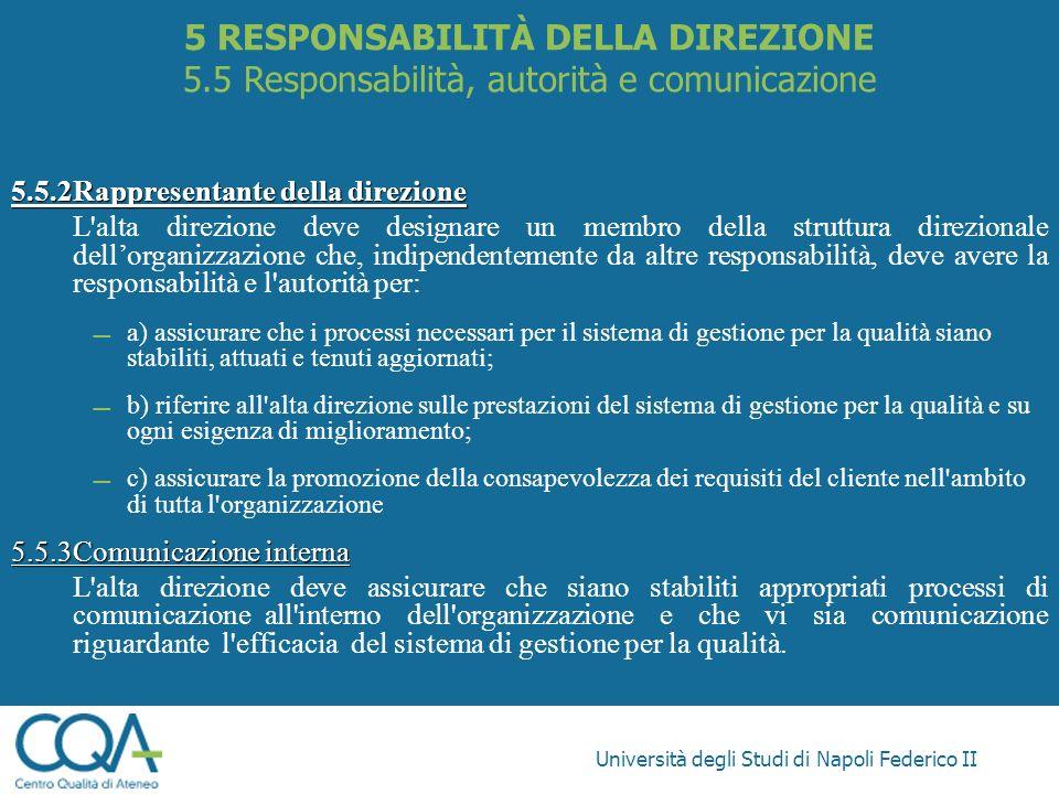 Università degli Studi di Napoli Federico II 5.5.2Rappresentante della direzione L'alta direzione deve designare un membro della struttura direzionale
