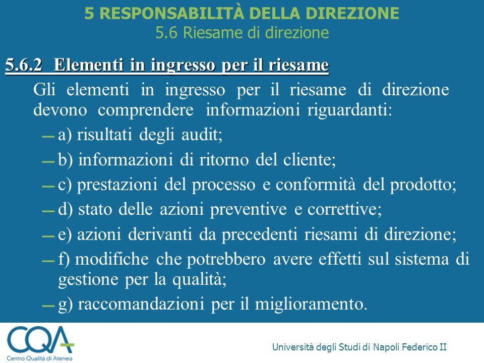 Università degli Studi di Napoli Federico II 5.6.2Elementi in ingresso per il riesame Gli elementi in ingresso per il riesame di direzione devono comp