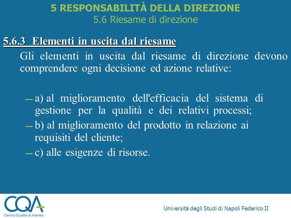 Università degli Studi di Napoli Federico II 5.6.3Elementi in uscita dal riesame Gli elementi in uscita dal riesame di direzione devono comprendere og