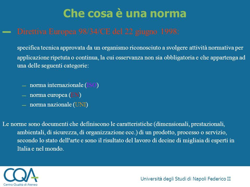 Università degli Studi di Napoli Federico II Che cosa è una norma Direttiva Europea 98/34/CE del 22 giugno 1998: specifica tecnica approvata da un org