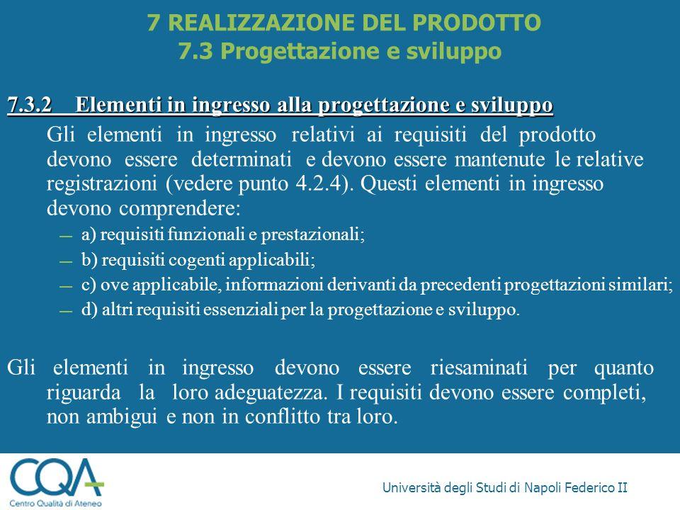 Università degli Studi di Napoli Federico II 7.3.2Elementi in ingresso alla progettazione e sviluppo Gli elementi in ingresso relativi ai requisiti de
