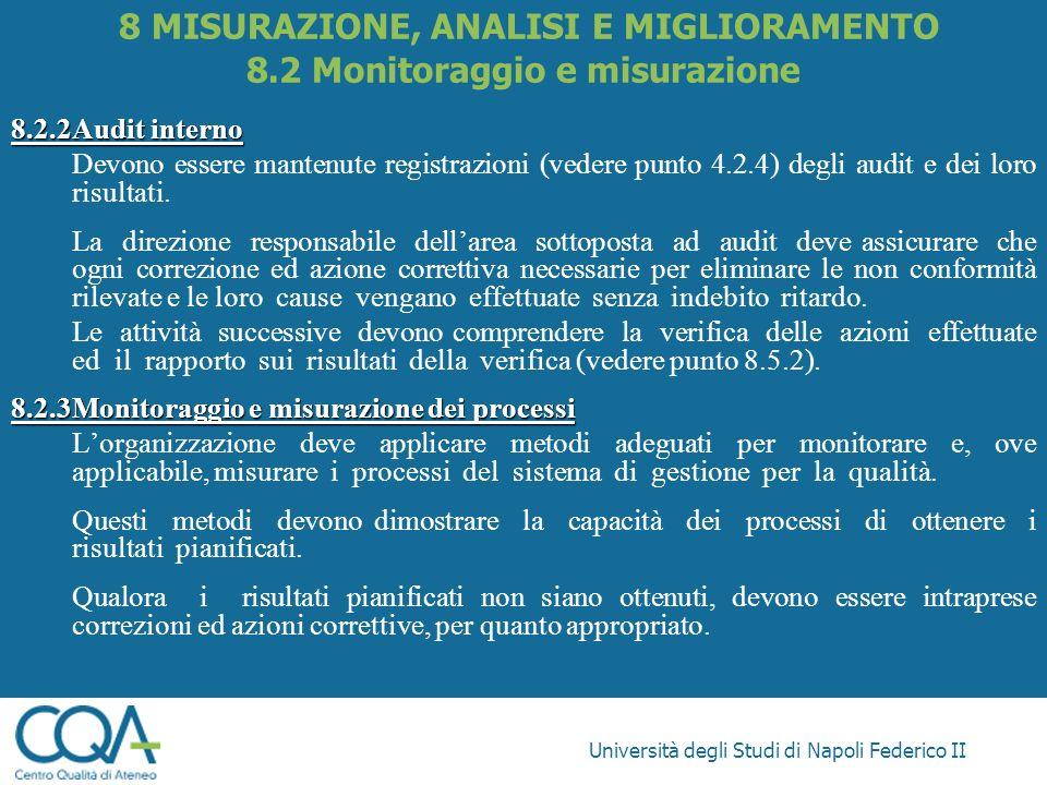 Università degli Studi di Napoli Federico II 8.2.2Audit interno Devono essere mantenute registrazioni (vedere punto 4.2.4) degli audit e dei loro risu
