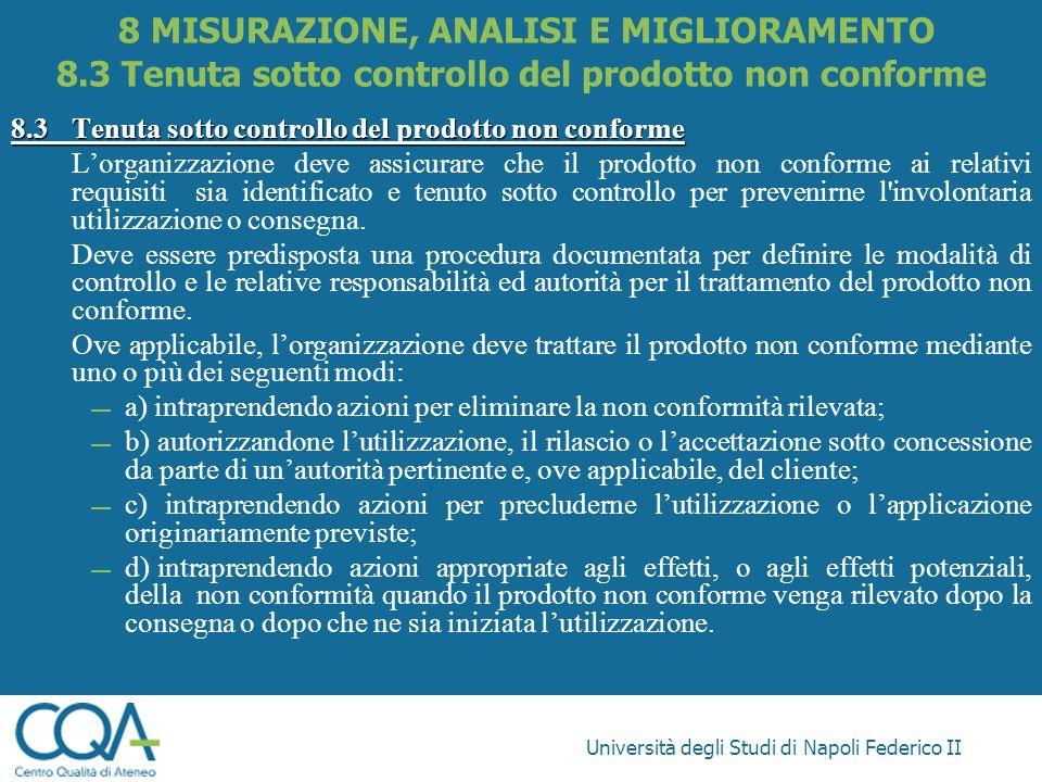 Università degli Studi di Napoli Federico II 8.3Tenuta sotto controllo del prodotto non conforme Lorganizzazione deve assicurare che il prodotto non c