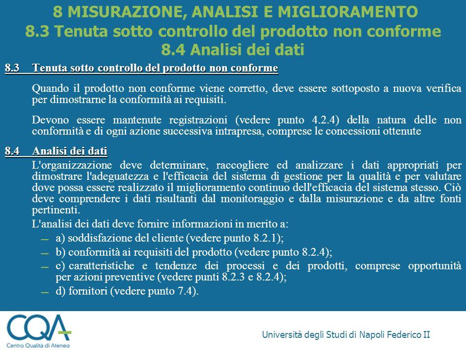 Università degli Studi di Napoli Federico II 8.3Tenuta sotto controllo del prodotto non conforme Quando il prodotto non conforme viene corretto, deve