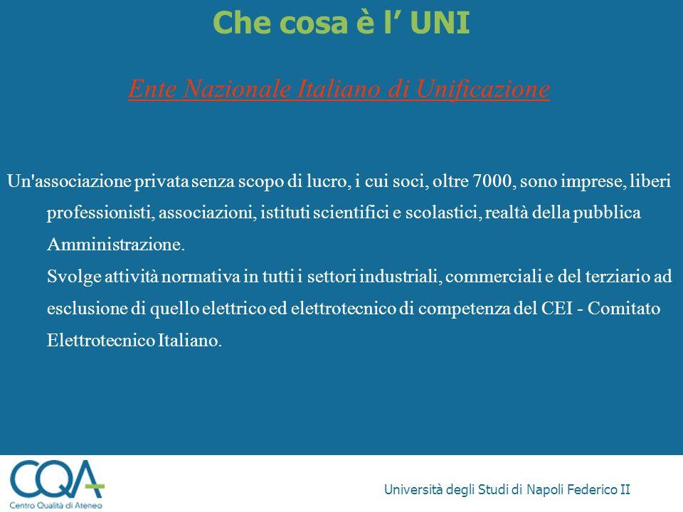 Università degli Studi di Napoli Federico II Che cosa è l UNI Ente Nazionale Italiano di Unificazione Un'associazione privata senza scopo di lucro, i