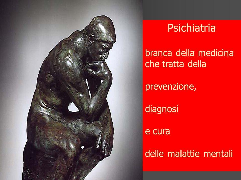 Psichiatria branca della medicina che tratta della prevenzione, diagnosi e cura delle malattie mentali
