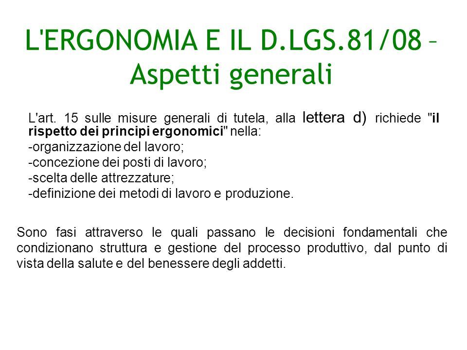 L ERGONOMIA E IL D.LGS.81/08 – Aspetti generali L art.