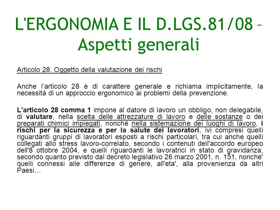 L ERGONOMIA E IL D.LGS.81/08 – Aspetti generali Articolo 28: Oggetto della valutazione dei rischi Anche larticolo 28 è di carattere generale e richiama implicitamente, la necessità di un approccio ergonomico ai problemi della prevenzione.
