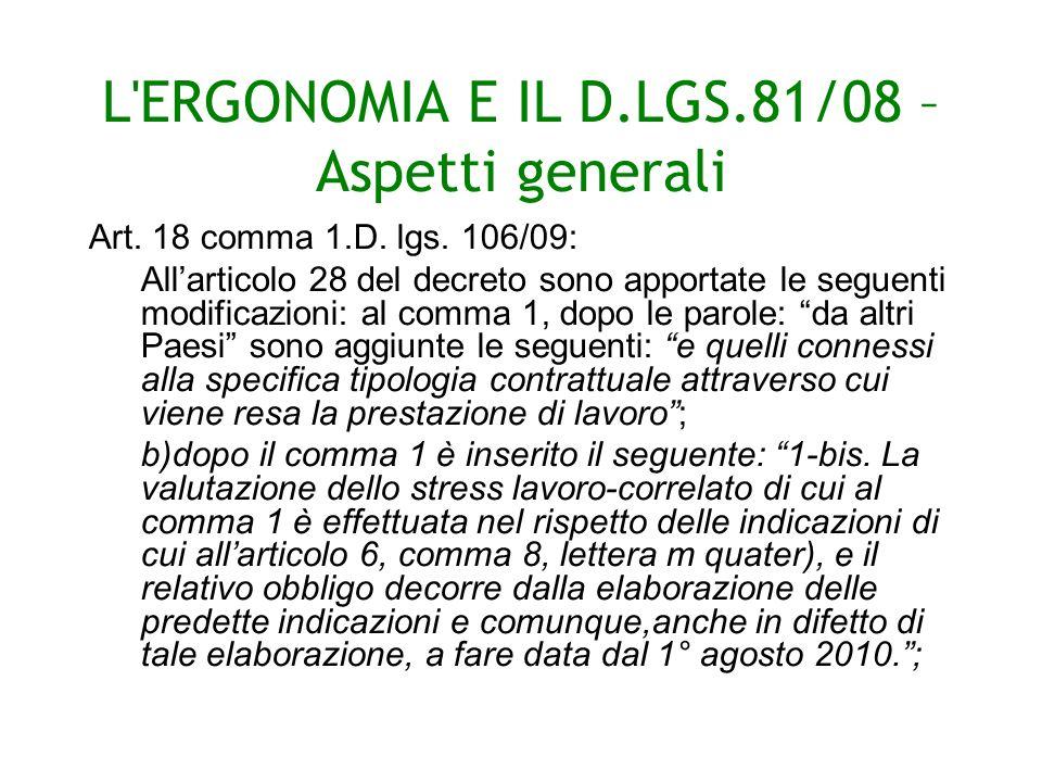 L ERGONOMIA E IL D.LGS.81/08 – Aspetti generali Art.
