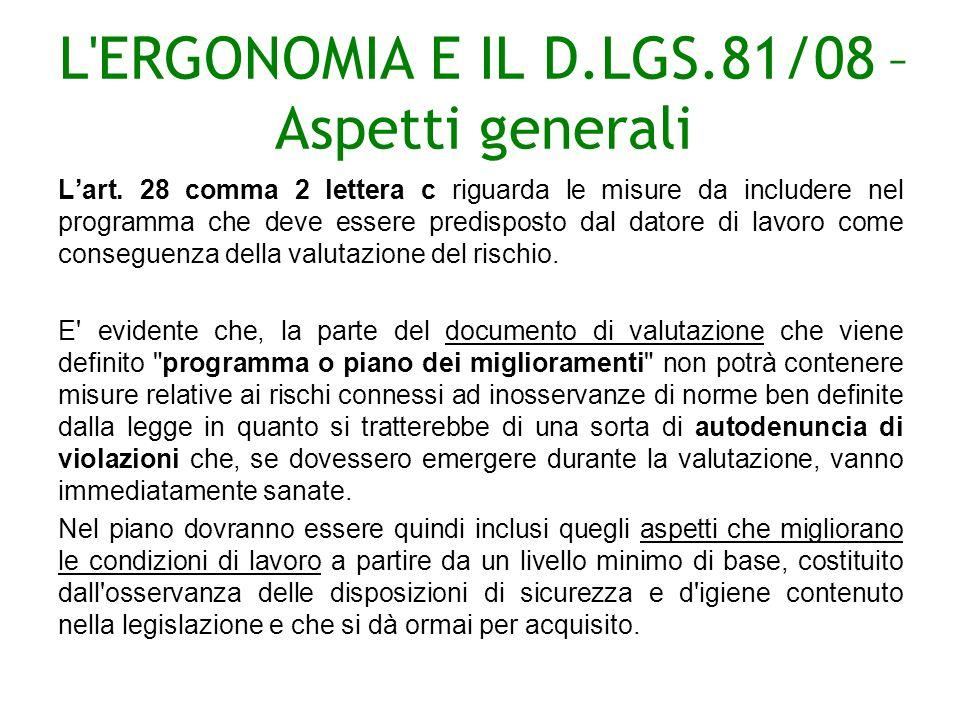 L ERGONOMIA E IL D.LGS.81/08 – Aspetti generali Lart.