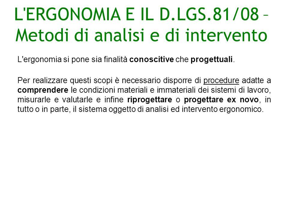 L ERGONOMIA E IL D.LGS.81/08 – Metodi di analisi e di intervento L ergonomia si pone sia finalità conoscitive che progettuali.